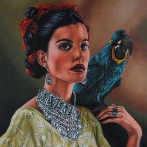 cuadros de mujeres con loros