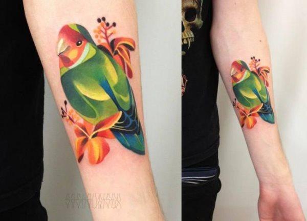 tatuajes de loros verdes